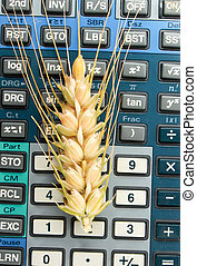 wheat ears on a calculator keypad