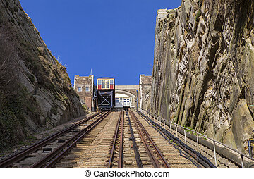 East Hill Lift Railway in Hastings - A view of the East Hill...
