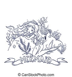 Little Mermaid For Coloring - Vector Illustration of a...