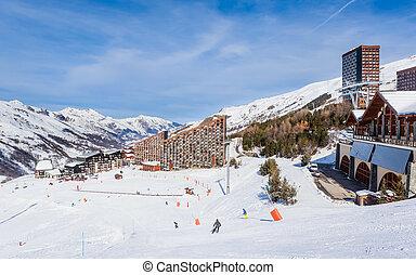 Ski resort  Val Thorens. Village of Les Menuires. France
