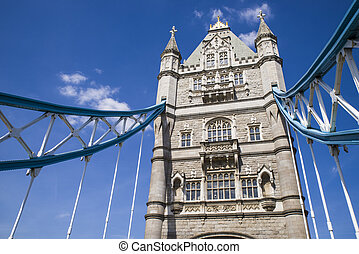 Tower Bridge in London - Looking up at one of the towers of...