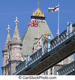 Flags on Tower Bridge in London - The Union Flag and St...