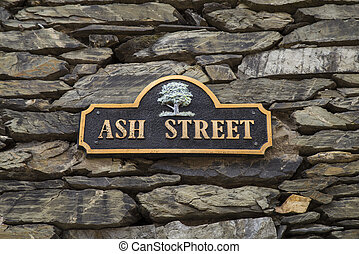 Ash Street in Bowness on Windermere - A street sign for Ash...