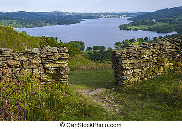 View of Lake Windermere in the Lake District - A view over...