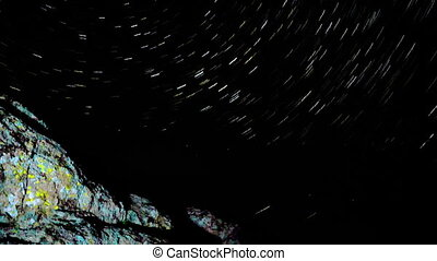 Star Trails Behind the rock. - Star Trails Galaxy Spins...