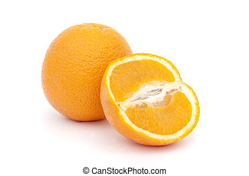 orange and cut orange isolated on a white background