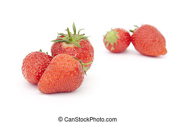 strawberries - group of strawberries isolated on a white...