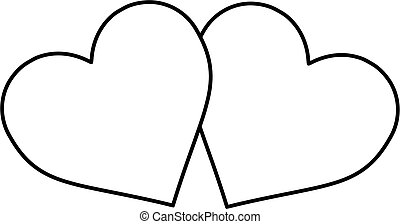 two hearts , outlines two hearts ,