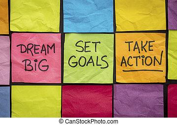sätta, ta, Stor, handling, mål, dröm