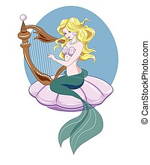 Mermaid and harp - The Little Mermaid with long golden hair...