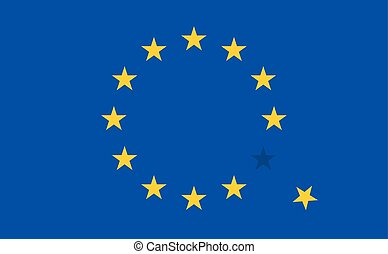 Flag of European Union EU with a flying star Vector Icon...