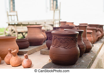 pottery in stock at shallow depth of field