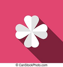 Clover with four leaves icon. Saint Patrick symbol isolated