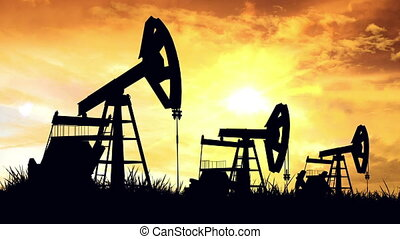 """Oil pumps. Oil industry equipment."" - ""Oil pumps at sunset...."