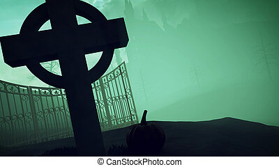 Halloween. Dark castle on a Graveyard. - 3D rendering of...