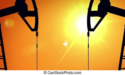 """Pumpjacks Silhouette"" - ""Silhouette pump jacks at sunset...."