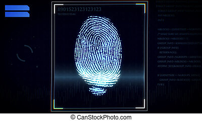 Fingerprint scanner, identification system - 3D rendering of...