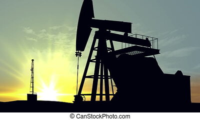"""Silhouette pump jacks"" - ""Oil pump oil rig energy..."