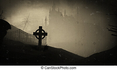 Dark castle on a Graveyard. Old film effects. Halloween - 3D...