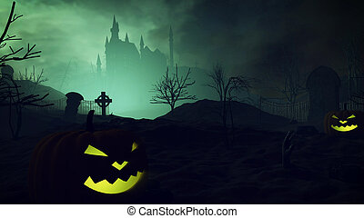Halloween pumpkins and dark castle on a Graveyard. - 3D...