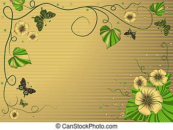 Decorative floral gold frame