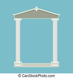 Antique marble temple front with ionic columns