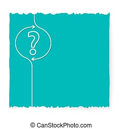Green slip of paper and question mark
