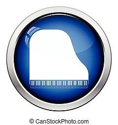 Grand piano icon Glossy button design Vector illustration