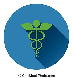 Medicine sign icon. Flat color design. Vector illustration.
