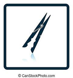 Cloth peg icon. Shadow reflection design. Vector...