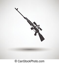 Sniper rifle icon on gray background, round shadow Vector...