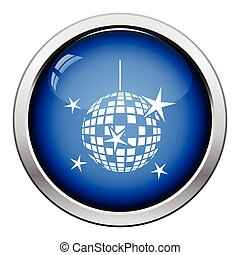 Night clubs disco sphere icon Glossy button design Vector...