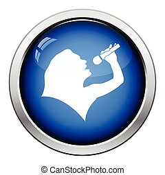 Karaoke womans silhouette icon Glossy button design Vector...