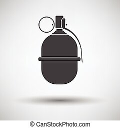 Attack grenade icon on gray background, round shadow Vector...