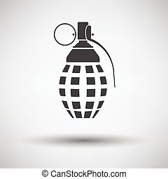 Defensive grenade icon on gray background, round shadow...