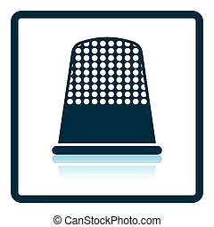 Tailor thimble icon Shadow reflection design Vector...