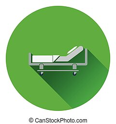 Hospital bed icon Flat color design Vector illustration