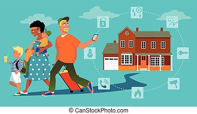 Home security system - Family going on vacation, a man...