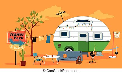 Trailer park scene with a caravan trailer, EPS 8 vector...