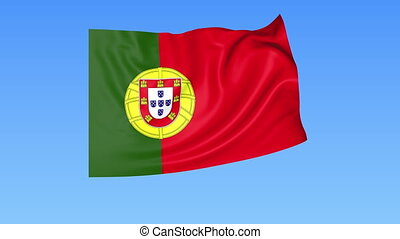 Waving flag of Portugal, seamless loop. Exact size, blue...