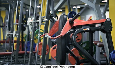 Fitness club weight training equipment gym modern interior....