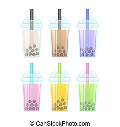 Bubble tea set - Bubble Tea, milk smoothie with tapioca...