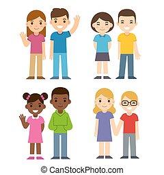 Cartoon kids set - Set of cute cartoon diverse children...