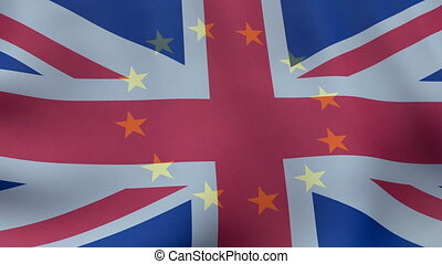 The European Union flag superimposed on the British flag,...