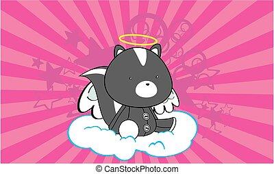 sweet skunk angel cartoon card - sweet cherub skunk angel...