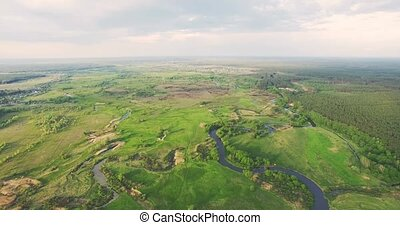 River panorama High Aerial view 4k 30fps - Aerial View:...