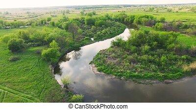 River panorama. Low Aerial view. 4k 30fps