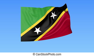 Waving flag of Saint Kitts and Nevis, seamless loop. Exact...