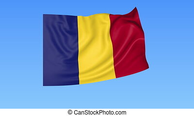 Waving flag of Romania, seamless loop. Exact size, blue...