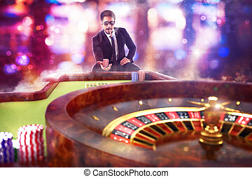 3D Rendering gambler playing roulette - 3D Rendering of man...